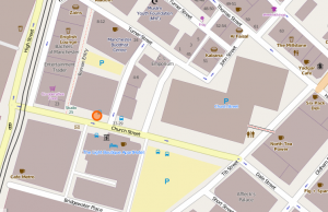 Map showing Blush Pole Dance Manchester classes Studio 25 are located
