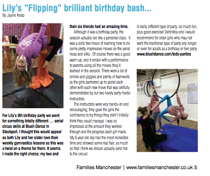 Review of our kids Parties in Families Manchester Magazine May 2015